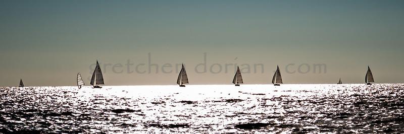 One Windsurfer | Seven Alerions | Harbor Springs, Little Traverse Bay, MI