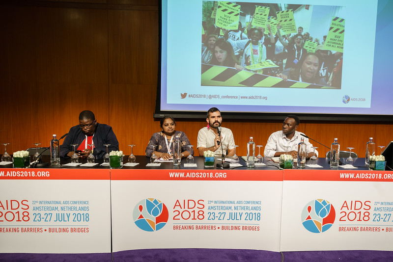22nd International AIDS Conference (AIDS 2018) Amsterdam, Netherlands.   Copyright: Matthijs Immink/IAS  Young people at the centre: Community mobilization for youth-friendly HIV services  On the photo: Tshepo Ngoato Daxa Patel  Carlo André Oliveras Rodriguez Moses Bwire