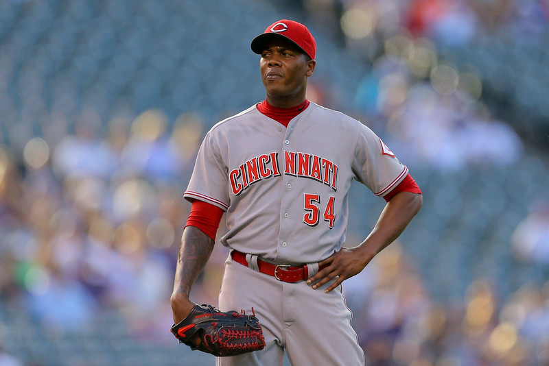 . Relief pitcher Aroldis Chapman #54 of the Cincinnati Reds reacts on the mound after walking in two runs during the ninth inning against the Colorado Rockies at Coors Field on August 17, 2014 in Denver, Colorado. The Rockies defeated the Reds 10-9. (Photo by Justin Edmonds/Getty Images)