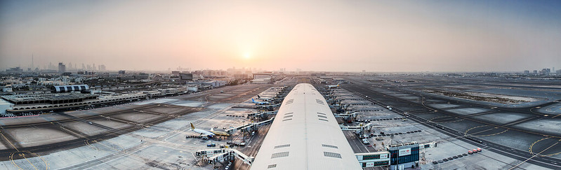 Runway view from ATC at Dubai International Airport.