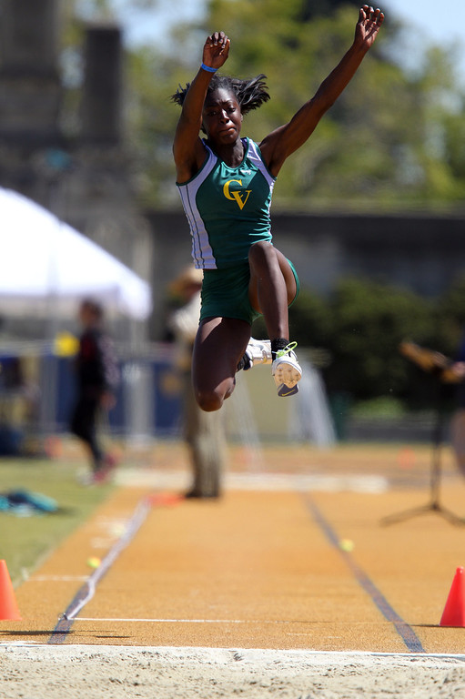 . Castro Valley\'s Sasha Wallace competes in the girls long jump at the North Coast Section Meet of Champions at Cal\'s Edwards Stadium in Berkeley, Calif., on Saturday, May 25, 2013. Wallace placed first. (Anda Chu/Bay Area News Group)