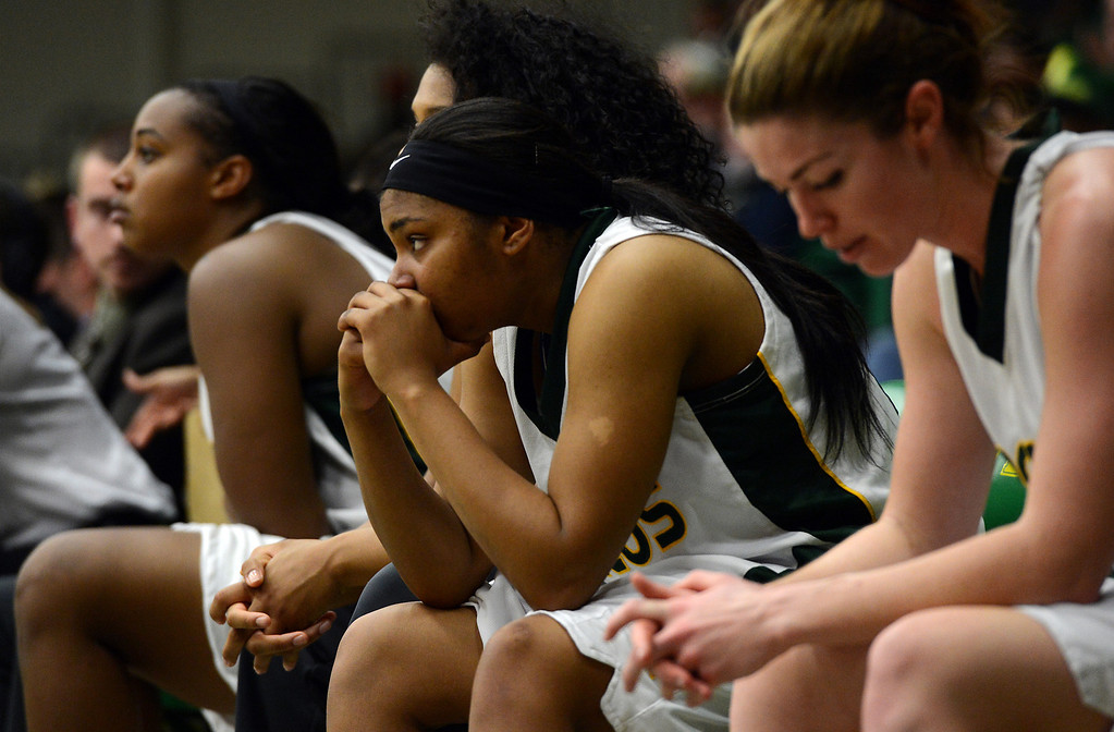. Cal Poly Pomona\'s Erin Hagan reacts after Montana State Billings takes the lead during the NCAA Division II West Regional championship game at Cal Poly Pomona in Pomona, CA, Monday, March 17, 2014. (Photo by Jennifer Cappuccio Maher/Inland Valley Daily Bulletin)