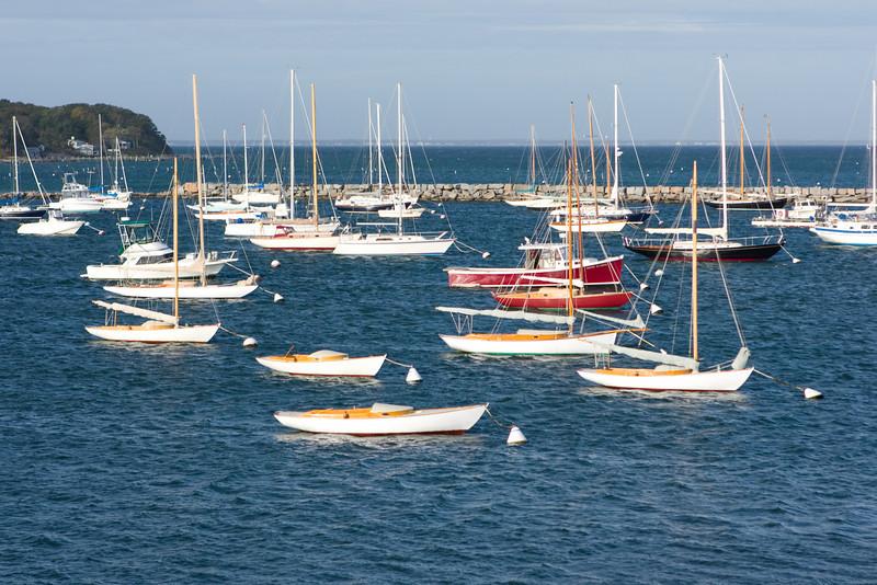 Still plenty of sailboats moored in Vineyard Haven harbor.