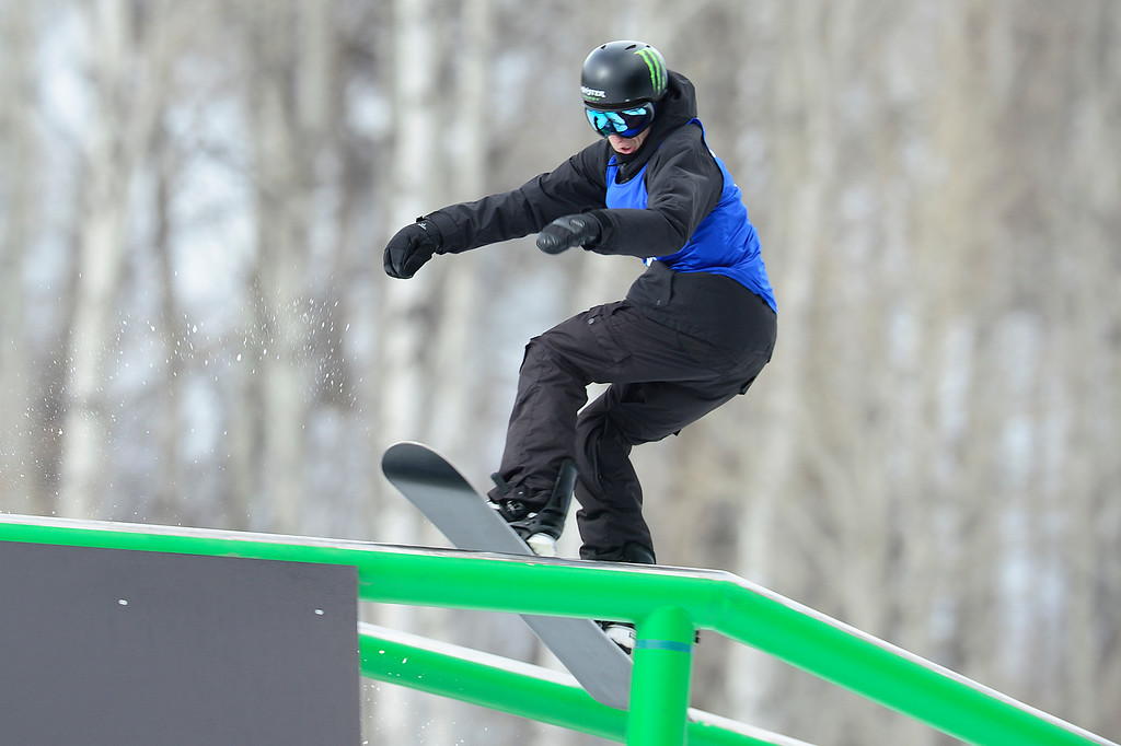 . Max Parrot slides the rail during his second run during Snowboard Slopestyle Men\'s Final at Winter X Games 2016 at Buttermilk Mountain on January 29, 2016 in Aspen, Colorado. Mark McMorris won the event with the final score of 92.66.   (Photo by Brent Lewis/The Denver Post)