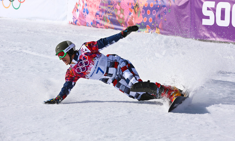 . Vic Wild of Russia enters the finish area after the second run in the final winning the men\'s Snowboard Parallel Giant Slalom at Rosa Khutor Extreme Park at the Sochi 2014 Olympic Games, Krasnaya Polyana, Russia, 19 February 2014.  EPA/JENS BUETTNER