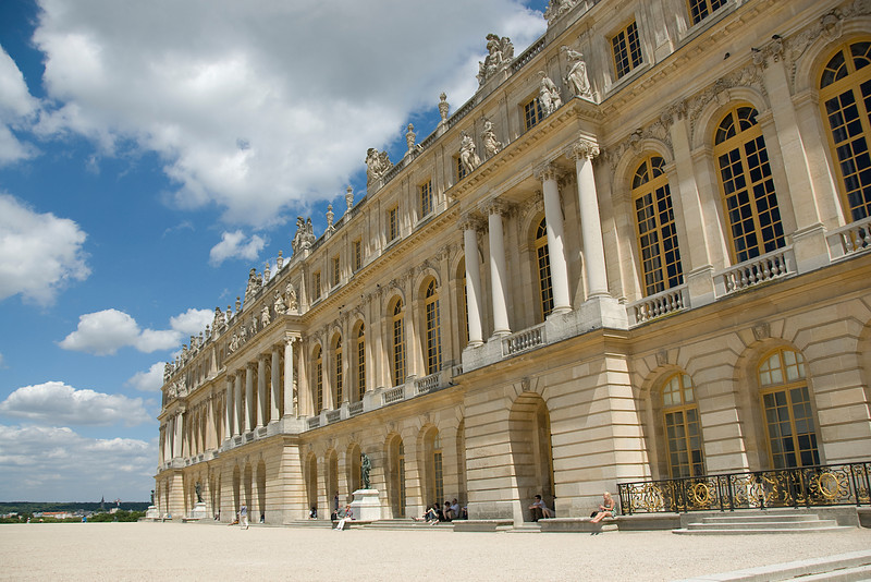 Side profile of the Versailles Palace in Versailles, France