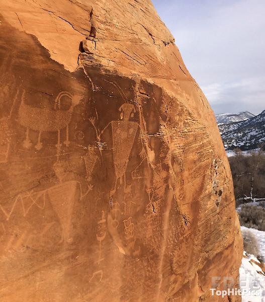 The Petroglyphs at 'Swelter Shelter' in Dinosaur National Monument Park, Jensen, Utah
