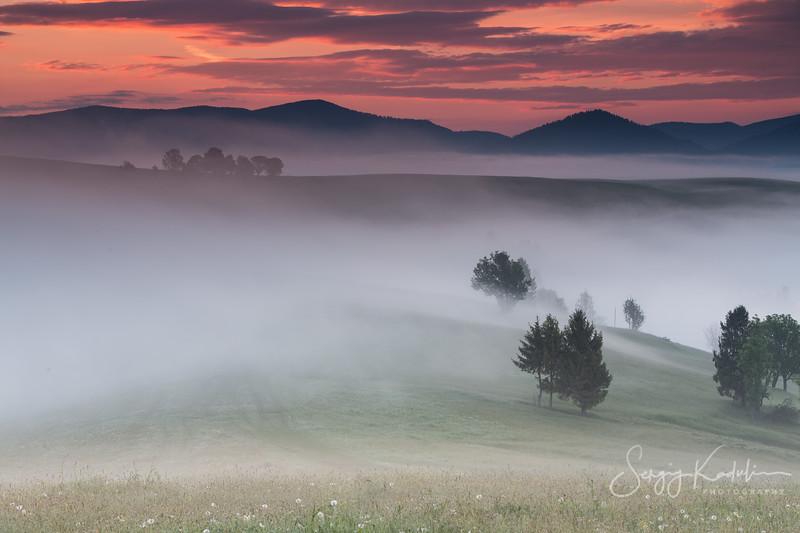 Foggy morning in Izki village