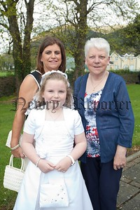 Rhionna Harper who made her First Holy Communion at Killowen Church is poctured with her Mother Roisin and her Grandmother Ann Fitzpatrick. R1520024