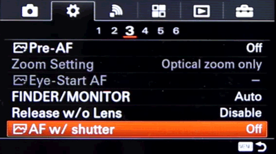 Setting up Back Button Focus on Sony a6000 and a63000 - Step 2