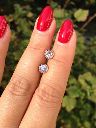 "1.07ctw Old European Cut Diamond Milgrained Bezel ""Sarah"" Earrings"