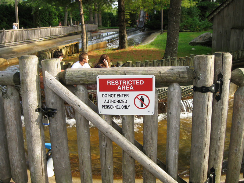 This gate leads directly into the water at the flume ride.