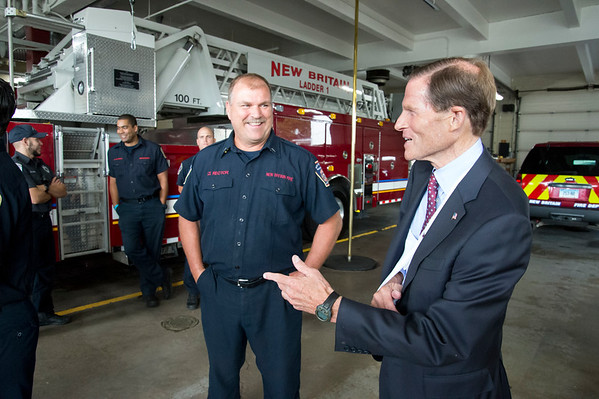 09/13/19 Wesley Bunnell | StaffrrThe New Britain Fire Department is receiving federal grant money to improve safety in the fire houses along with EMS workers receiving grant money to replace aging equipment in a press conference announced by Senator Richard Blumenthal and Mayor Erin Stewart. New Britain Fire Department Lt. Rector speaks with Senator Blumenthal after the press conference.