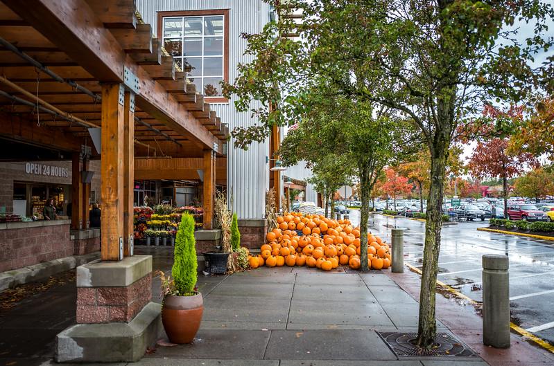 Pumpkins near a supermarket