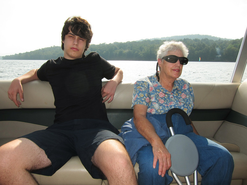Ben and Dottie on the boat tour of Indian Lake.