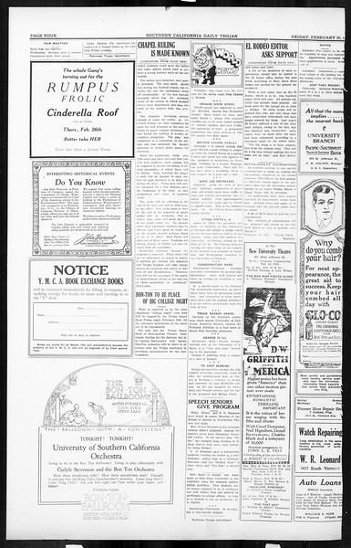 Daily Trojan, Vol. 16, No. 53, February 20, 1925