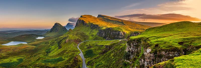 Quiraing mountains sunset at Isle of Skye, Scottland