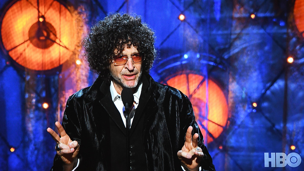 . Eric Bonzar�The Morning Journal<br> Radio personality Howard Stern inducts Bon Jovi into the Rock and Roll Hall of Fame, during the museum\'s 33rd induction ceremony held at Cleveland\'s Public Auditorium, April 14, 2018.