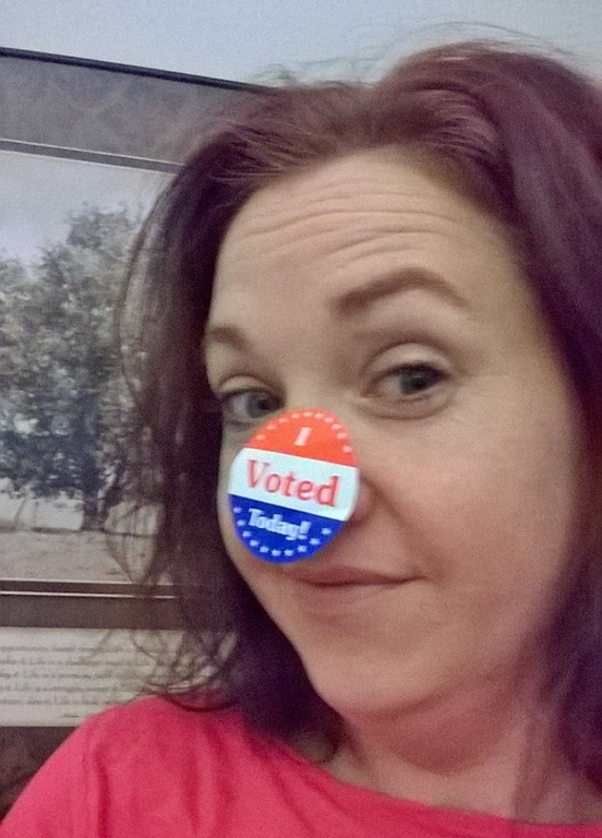. Misty Bennett of West Bloomfield voted at Gretcko Elementary School.