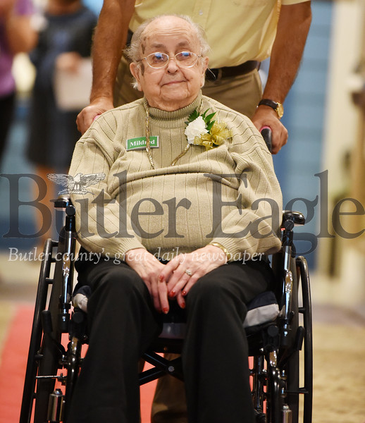 Harold Aughton/Butler Eagle: Mildred Dollhopf, 103, was one of five centerians recognized at the Celebrating Life  Centenarian Celebration at Lutheran Services in Zelienople.