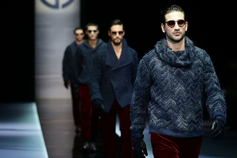 . Models walk the runway during the Giorgio Armani show as part of Milan Fashion Week Menswear Autumn/Winter 2013 on January 15, 2013 in Milan, Italy.  (Photo by Vittorio Zunino Celotto/Getty Images)