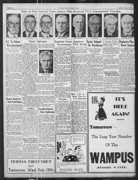 Daily Trojan, Vol. 27, No. 80, February 18, 1936