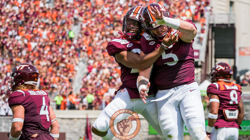 Ishmiel Seisay (29) and Jarrod Hewitt (5) celebrate a third-down stop during the matchup against Old Dominion University in Lane Stadium on Saturday, Sept. 7, 2019. (Photo: Cory Hancock)