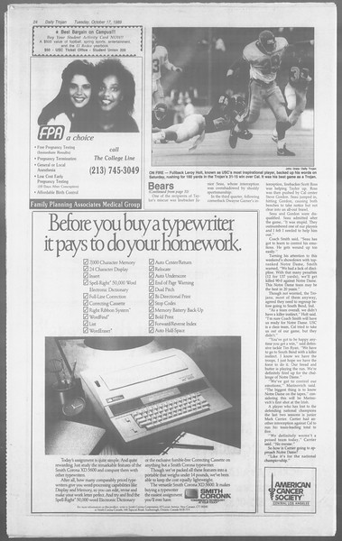 Daily Trojan, Vol. 110, No. 30, October 17, 1989