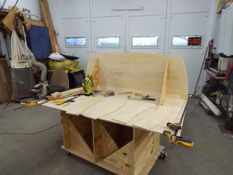 Seat transom glued in place, new front panels laid out.