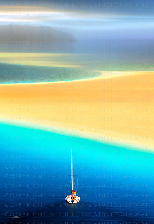 """Windward Sands""  Digital Painting / Kaneohe Bay Sandbar"