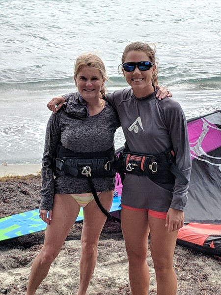 Prepping for our kiteboarding lesson with Sandy.