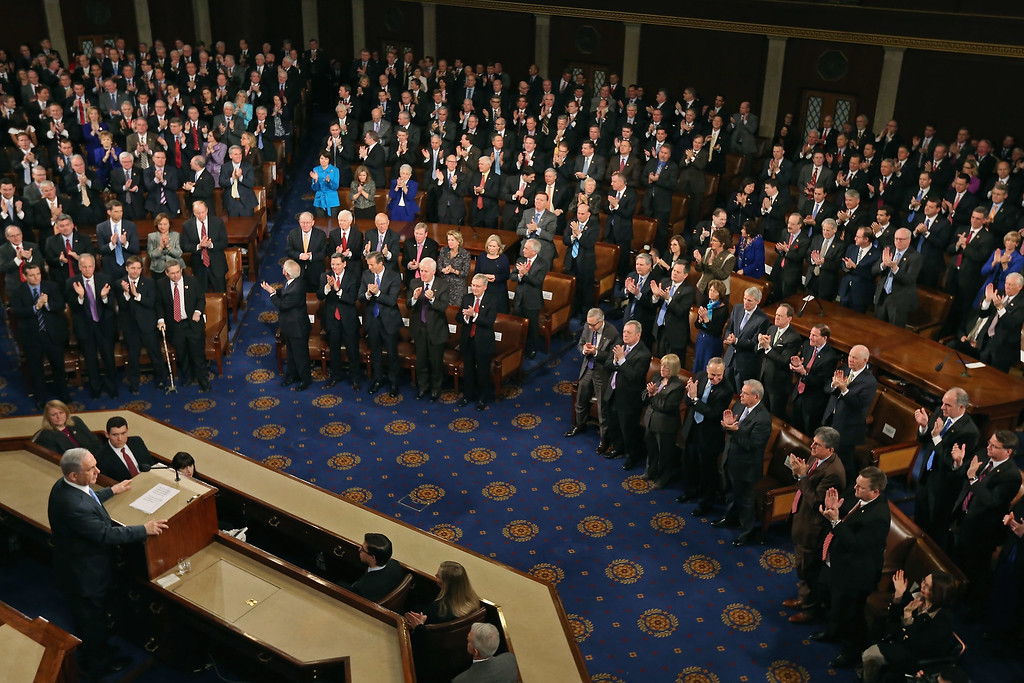 . Israeli Prime Minister Benjamin Netanyahu speaks about Iran during a joint meeting of the United States Congress in the House chamber at the U.S. Capitol March 3, 2015 in Washington, DC. At the risk of further straining the relationship between Israel and the Obama Administration, Netanyahu warned members of Congress against what he considers an ill-advised nuclear deal with Iran.  (Photo by Chip Somodevilla/Getty Images)
