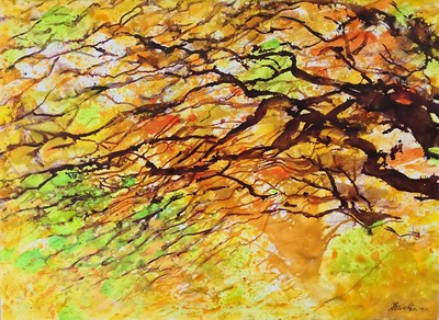"""""""The charm of autumn"""" (acrylic on paper) by Minhuang Ge"""
