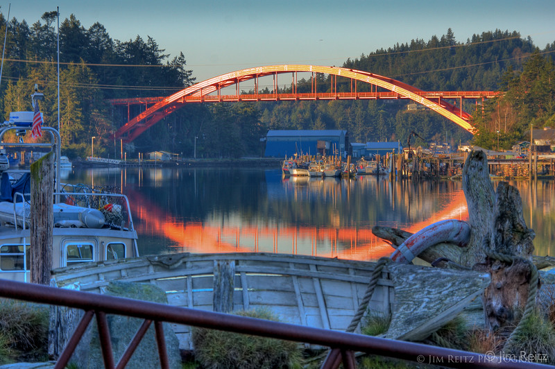 La Conner bridge at sunrise.