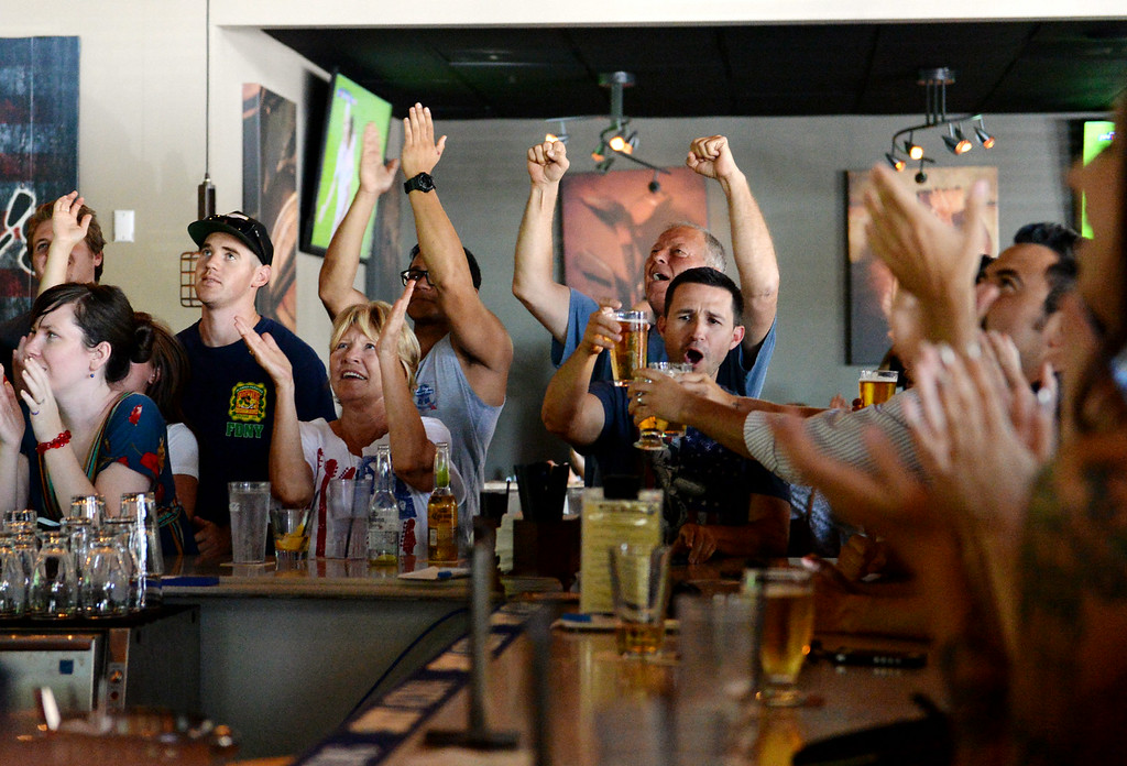 . Fans celebrate USA\'s only goal during the world cup game against Belgium at a viewing party on Tuesday, July 1, 2014 at Darby\'s American Cantina in Redlands, Ca. (Photo by Micah Escamilla/The Sun)