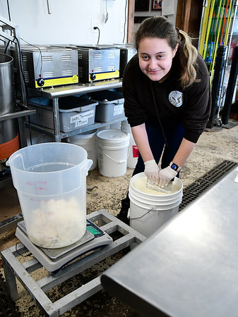 3/7/2020 Mike Orazzi | StaffrTraci Wood while making soap at Bradley Mountain Farm in Southington on Saturday.