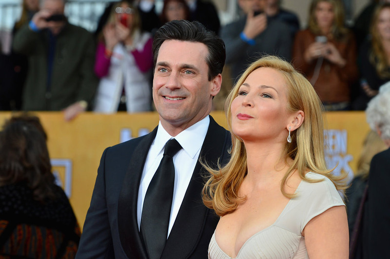 . Actors Jon Hamm (L) and Jennifer Westfeldt arrive at the 19th Annual Screen Actors Guild Awards held at The Shrine Auditorium on January 27, 2013 in Los Angeles, California.  (Photo by Frazer Harrison/Getty Images)