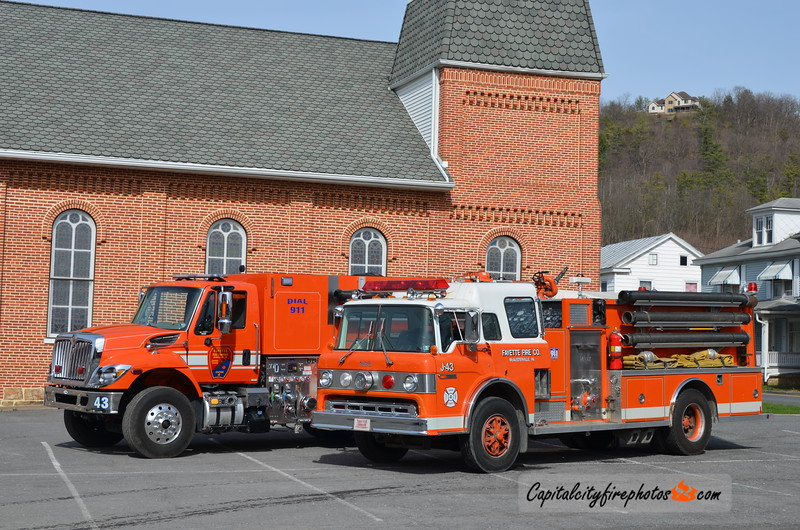 Fayette Fire Co., McAlisterville Tanker 43 (2017 International/E-One)  and X-Tanker 43 (1991 Ford/Darley)