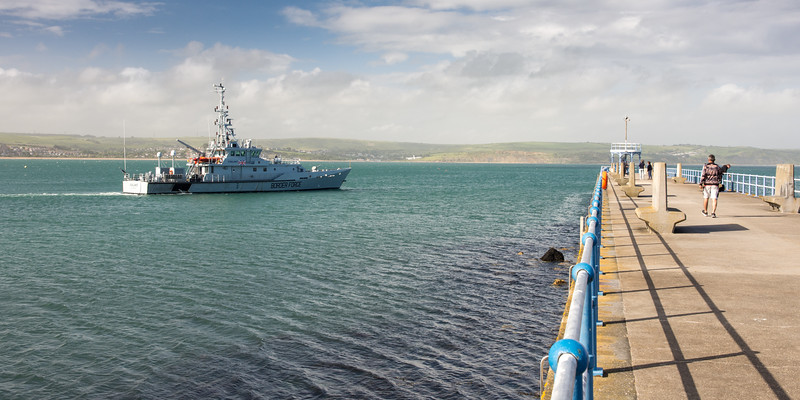 Border Force cutter leaving Weymouth