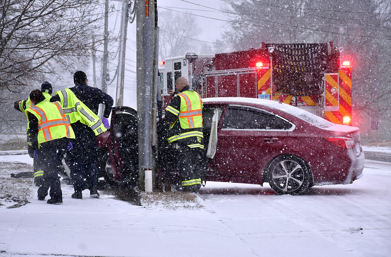 1/18/2020 Mike Orazzi | Staff The scene of a one-vehicle crash on Willis Street in Bristol during Saturday's snow storm. Minor injuries were reported.