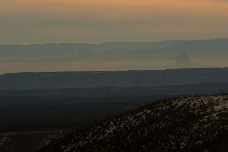 In the haze you can see Ship Rock which is in New Mexico about 40 miles away