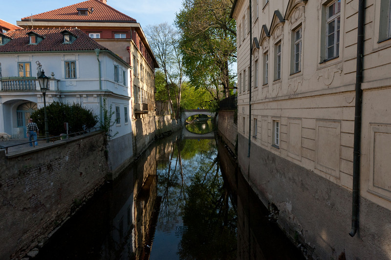 Secluded river bank in Prague, Czech Republic
