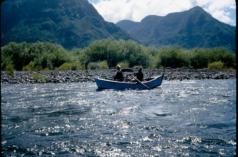 Bobbi fishing for salmon trout high up in Andean River