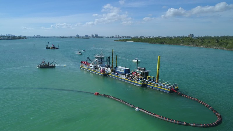 Industrial sand barge project aerial drone inspection 4k 24p footage