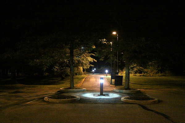 ADP Walkway lighting photos Caf. to Parking lot, July 1, 2013, 9:30- 10pm +/-
