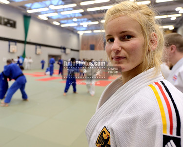 2013 Tonbridge Judo Training Camp 131220A5521: European silver medallist and German champion, Claudia Ahrens at the side of the mat during the Ton....