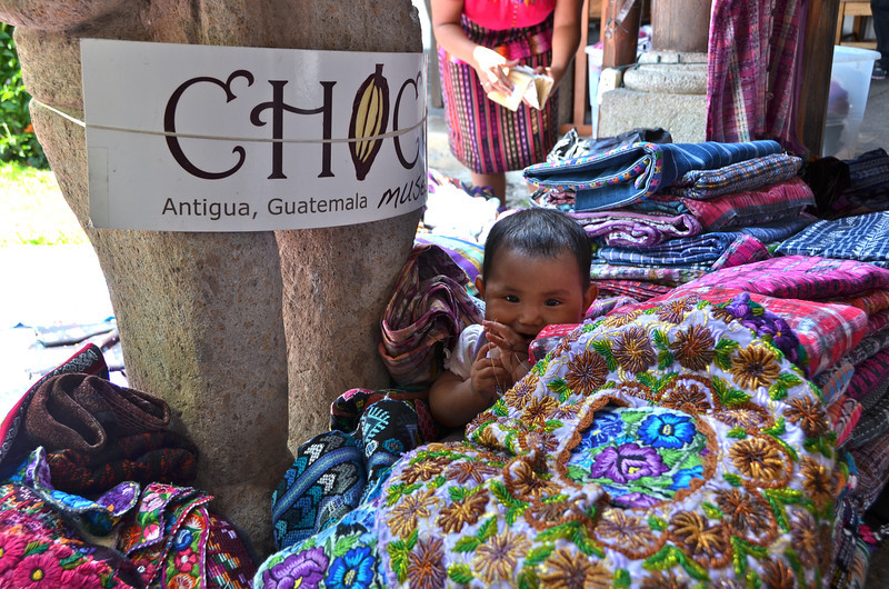 Huipils and other Mayan handwoven cloth products in the small market next to ChocoMuseo