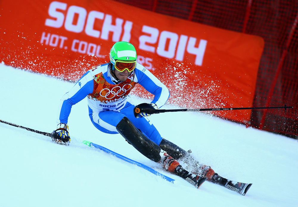 . Christof Innerhofer of Italy competes during the Alpine Skiing Men\'s Super Combined Downhill on day 7 of the Sochi 2014 Winter Olympics at Rosa Khutor Alpine Center on February 14, 2014 in Sochi, Russia.  (Photo by Doug Pensinger/Getty Images)