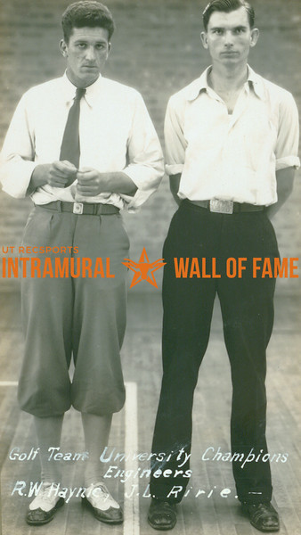 GOLF University Champions  Engineers  R. W. Haynle & J. L. Ririe