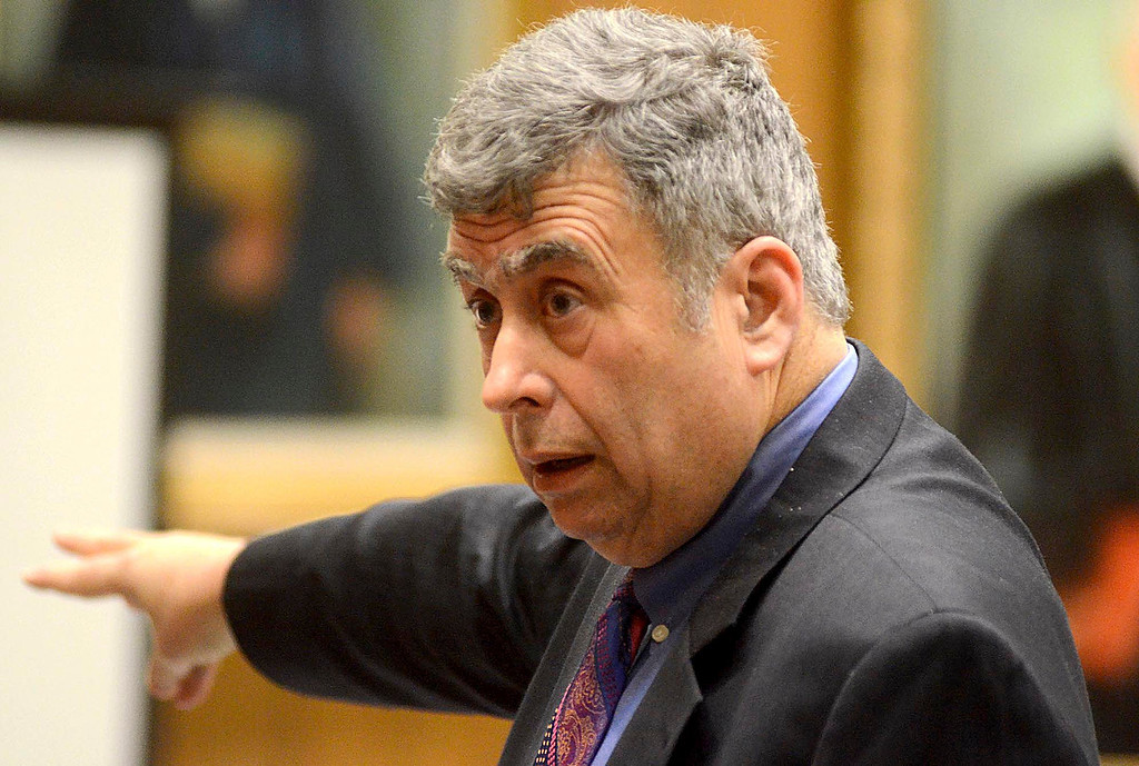 . Defense Attorney Alan Black gives his closing statement for the Adam Lee Hall trial in Springfield on Monday, Feb. 3, 2014. Hall is being tried for the murder of three men, one of wich was a potential witness against hall in another case. (AP Photo/ Gillian Jones, Berkshire Eagle Staff)